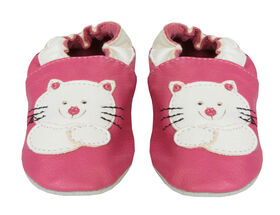 Tickle-toes Soft Leather Shoes with Cat Emblem - Bright Pink, 6-12 Months