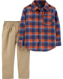 Ensemble 2 pièces chemise boutonnée à motif écossais et pantalon Carter's - rouge/kaki, 3 mois