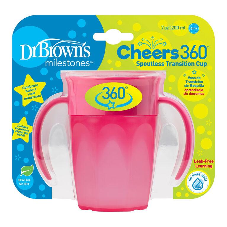Gobelet de transition de Dr. Brown's Milestones Cheers360 200 ml rose.