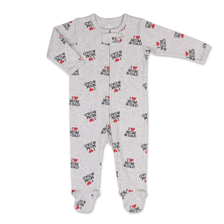 Koala Baby I Heart Mom And Dad Print Zip-Front Sleeper, 12 Months