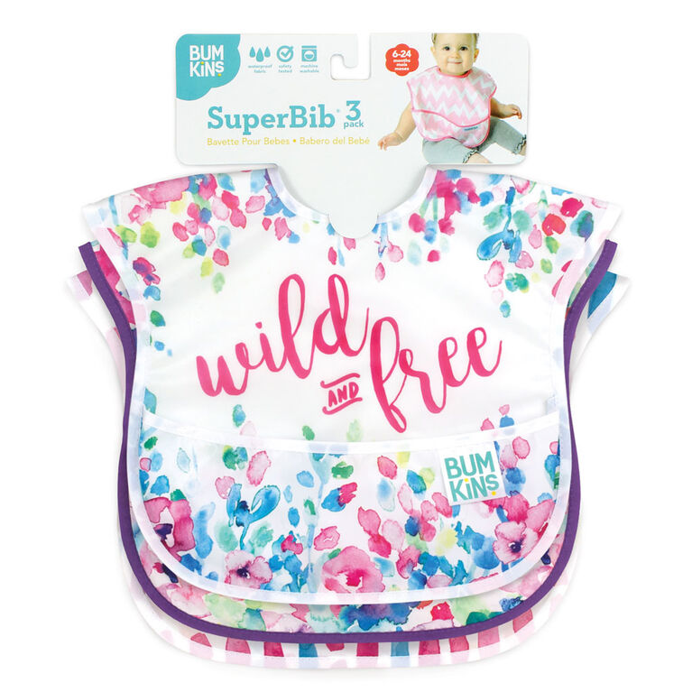 Bumkins - SuperBib 3 Pack - RainDrops, Pink Chevron, Umbrella