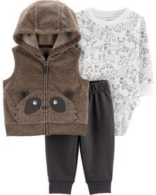 Carter's 3-Piece Raccoon Vest Set - Brown, 6 Months