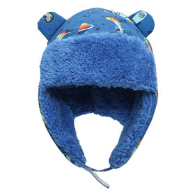 FlapJackKids - Baby, Toddler, Kids, Boys - Water Repellent Trapper Hat - Sherpa Lining - Dino/Blue - Small 6-24 months
