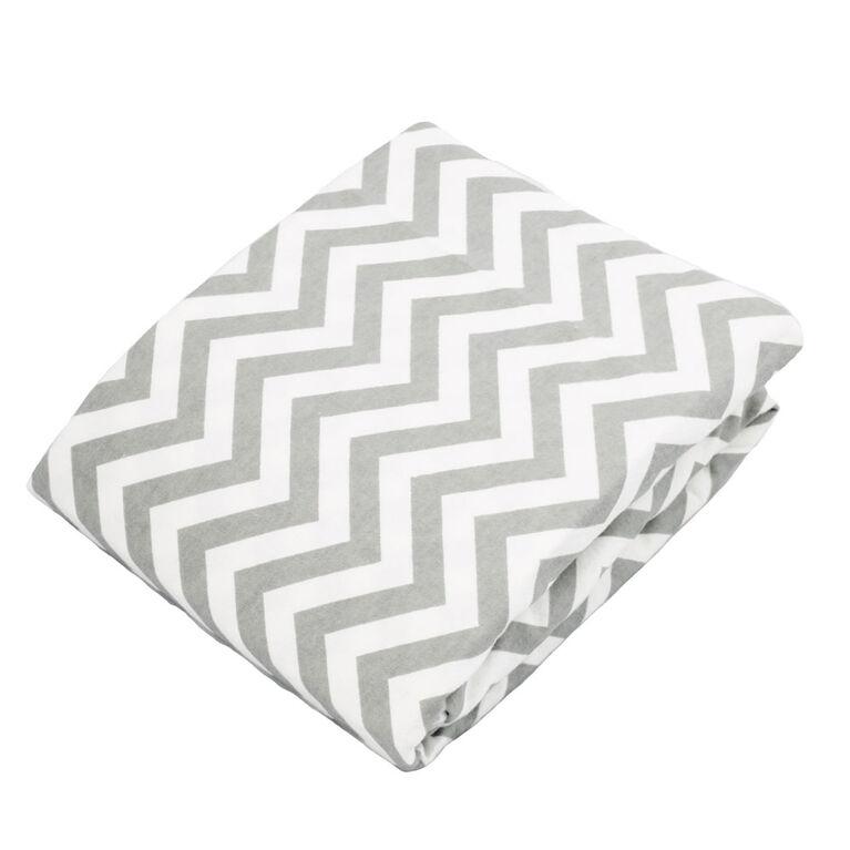 Kushies Crib Sheet Flannel Grey Chevron