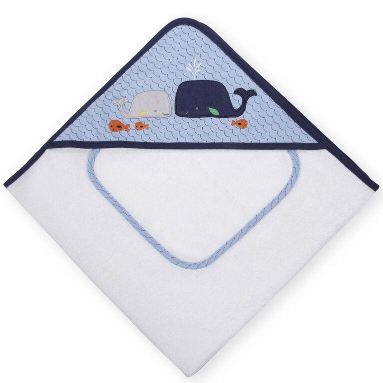 Whale baby bath towel baby shower gift baby boy blue towel baby boy towel whale baby towel whale burp cloth blue burp cloth