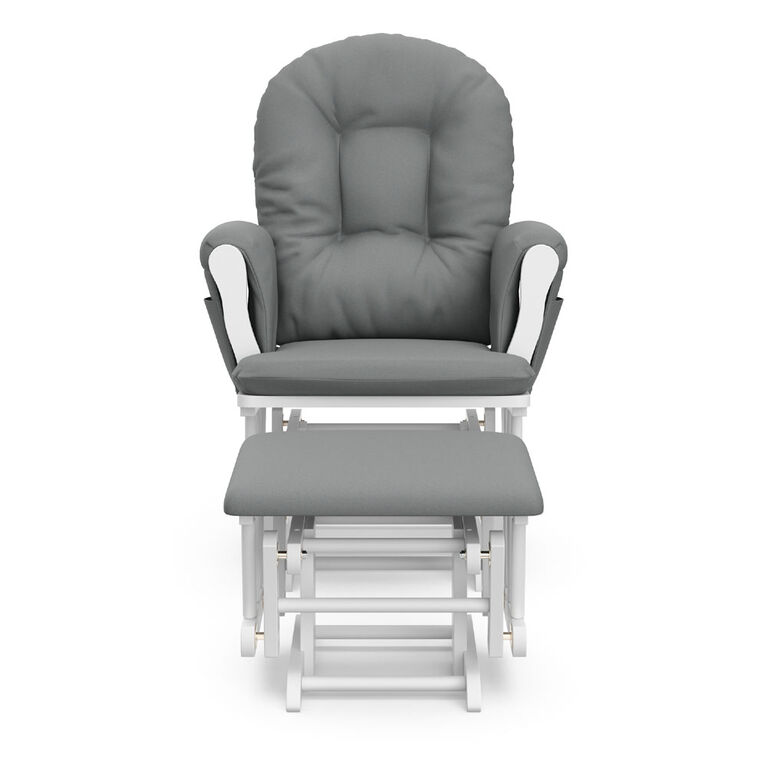 Hoop Glider and Ottoman - White with Gray Storkcraft