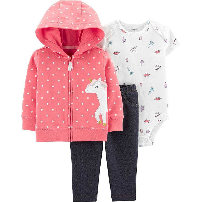Carter's 3-Piece Unicorn Cardigan Set - Pink, Newborn