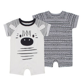 PL Baby Safari Dual Pack Rompers Off White 6M