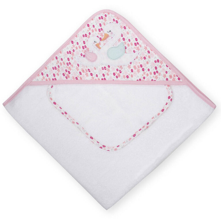 Koala Baby Hooded Towel and Washcloth Set, Pink Swan