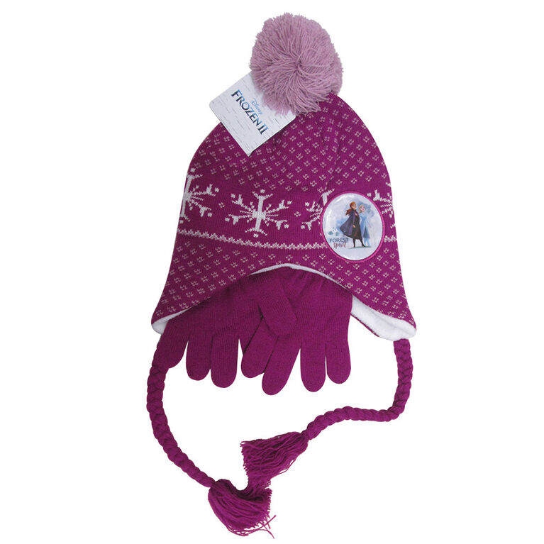 Disney - Frozen II - Girls fleeced lined helmet hat with matching gloves - Purple