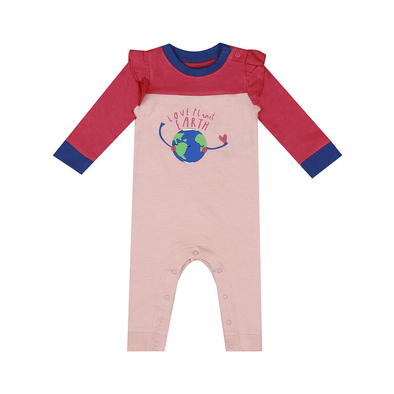 earth by art & eden - Maya Coverall Fleece Coverall - Crystal Rose, 12 Months
