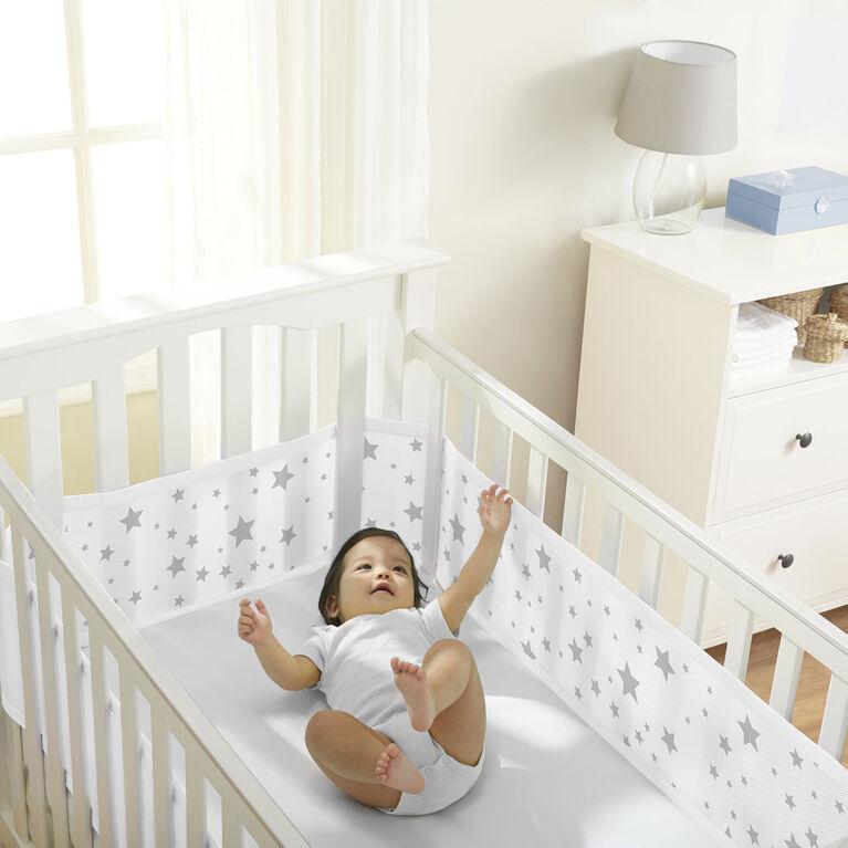 Tour de Lit en maille respirable de Breathable Baby -Gris.
