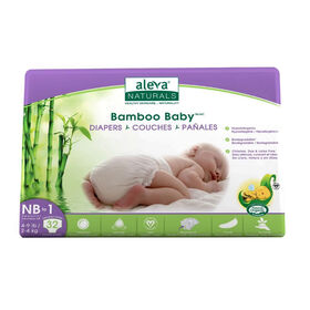 Aleva Naturals Bamboo Baby Diapers, 32 Count - Newborn to Size 1