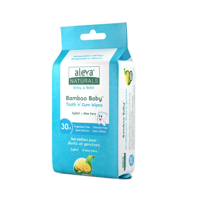 Aleva Naturals Bamboo Baby Serviettes pour dents et gencives 30 cnt.