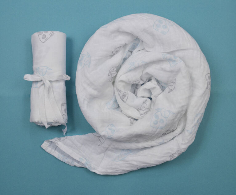 Couverture d'emmaillotage mousseline BBZanimo - Mouton, aqua.