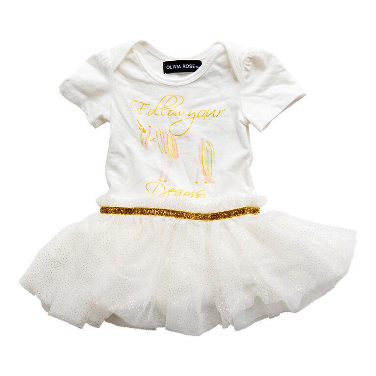 Olivia Rose –Short Sleeve Unicorn Print Tutu Dress – White - 6-9 Months