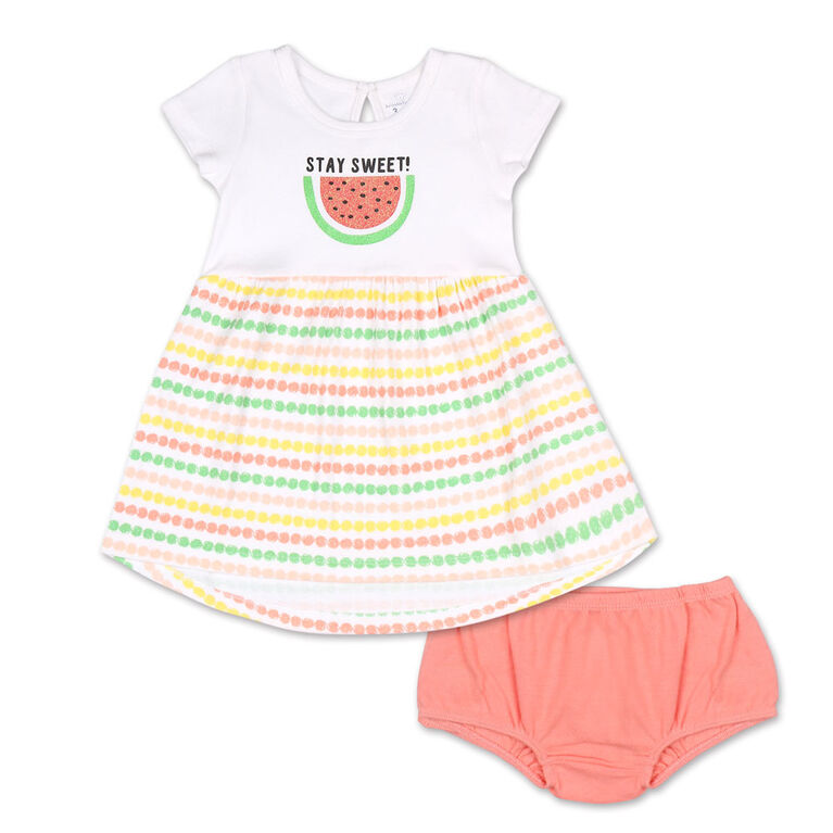 Koala Baby Short Sleeve Dress with Bloomers, Watermelon - 3-6 Months