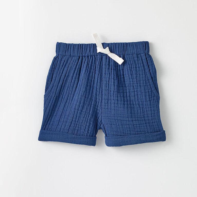 3-6m short en tissu froissé - bleu foncé