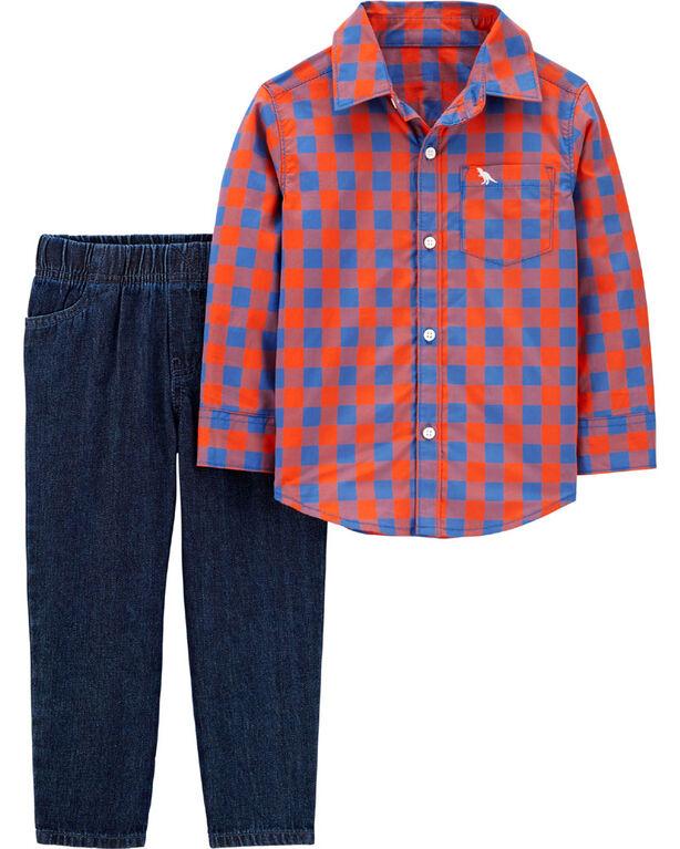 Ensemble 2 pièces haut boutonné à motif écossais et pantalon en denim Carter's – orange/bleu, 9 mois