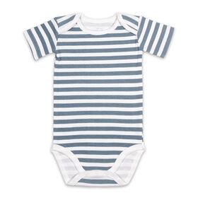 Body bébé à manches courtes Koala Baby - Bandes bleu ardoise, 3-6 mois