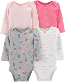 Carter's 4-Pack Cats Original Bodysuits - Pink/Grey/Ivory, Newborn