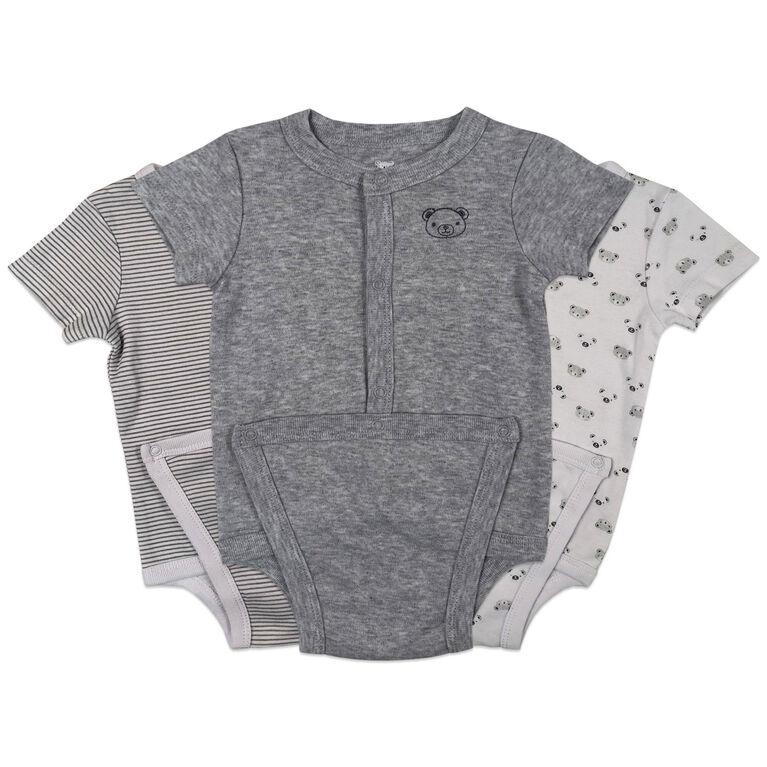 Koala Baby 3-Pack Diaper shirt - Grey, 0-3 Months