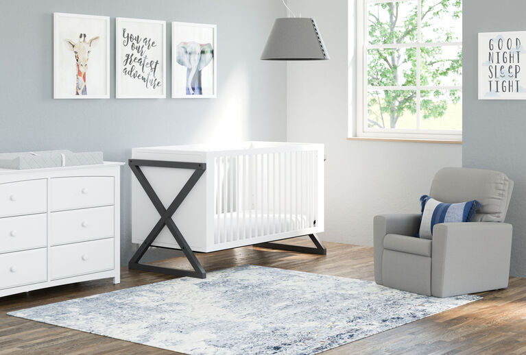 Storkcraft Equinox 3 In 1 Convertible Crib White Grey