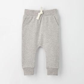 drop-crotch cozy sweats, 3-6m - grey mix