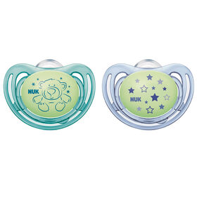 NUK Airflow Glow-in-the-Dark Pacifiers, 6-18 Months, 2 Pack, Assorted Colors