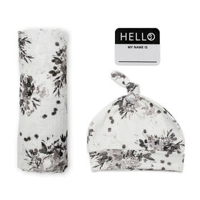 Lulujo Baby Hello World Newborn Bamboo Hat and Swaddle Blanket Set Black Floral