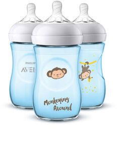 Philips Avent Natural Baby Bottle, Monkey design, Blue 9oz, 3pk with free Philips Avent Classic Pacifier 0-6 months (2pk)