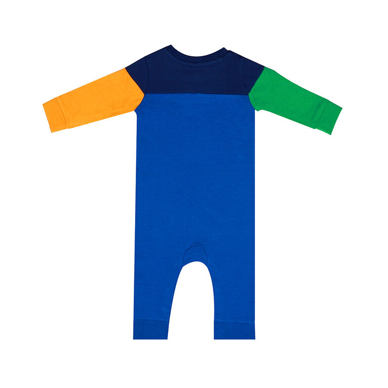 earth by art & eden - Mike Color Block Coverall - Stong Blue, 6 Months