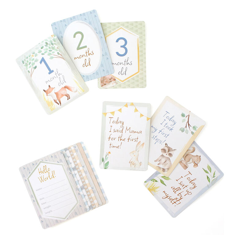 Itzy Ritzy Milestone Cards , Neutral, Woodland Animals