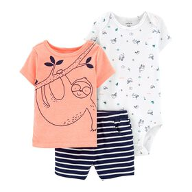Carter's 3-Piece Sloth Little Short Set - Blue, 6 Months
