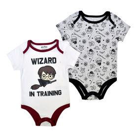 Warner's Harry Potter 2 PK Bodysuits - Grey, 3 Months