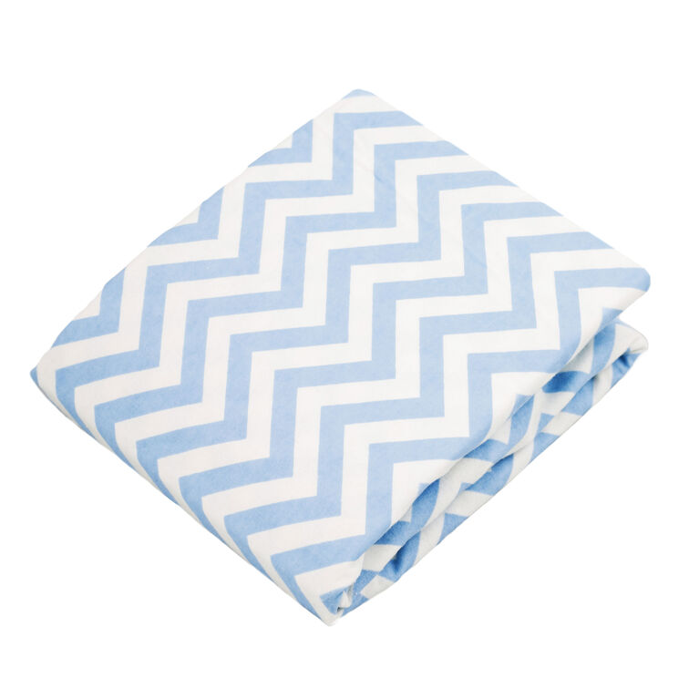 Kushies Bassinet Sheet Flannel Blue Chevron