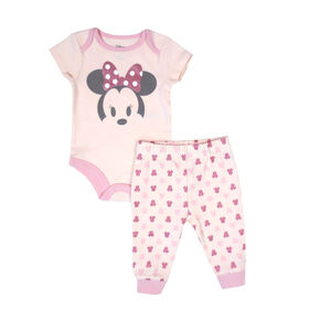 Disney Minnie Mouse 2-Piece Bodysuit and Pant Set - Pink, 12 Months