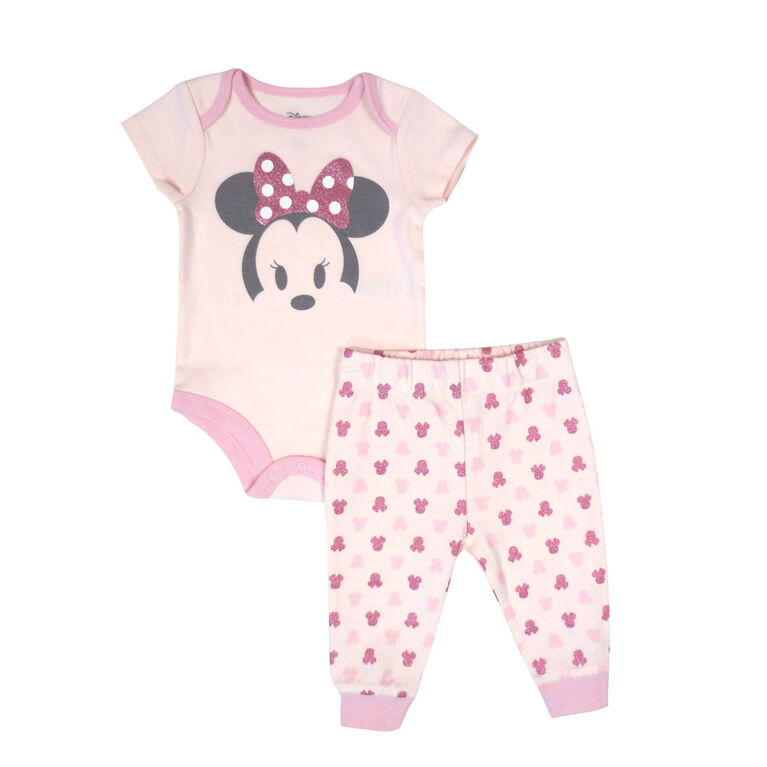 Disney Minnie Mouse 2-Piece Bodysuit and Pant Set - Pink, 12 Months