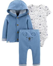 Carter's 3-Piece Little Cardigan Set - Blue, 3 Months