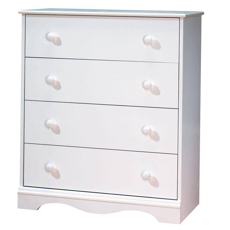 Meubles South Shore, Commode 4 tiroirs - Blanc solide