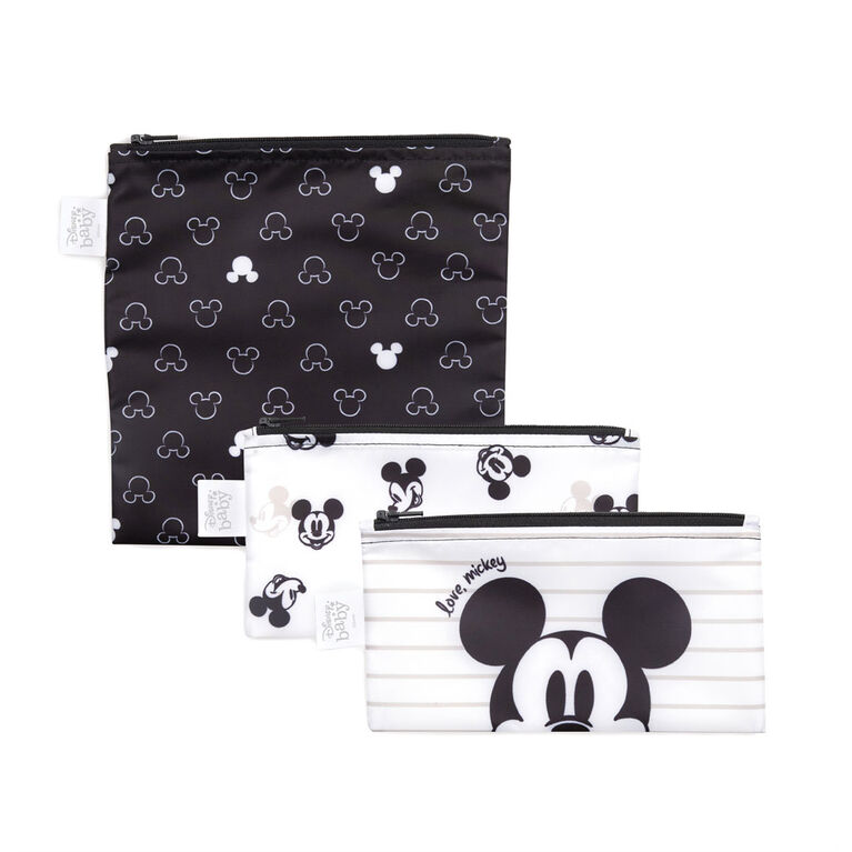 Bumkins Disney Sandwich Bags/Snack Bags, BPA Free, Pack of 3 - Mickey Mouse