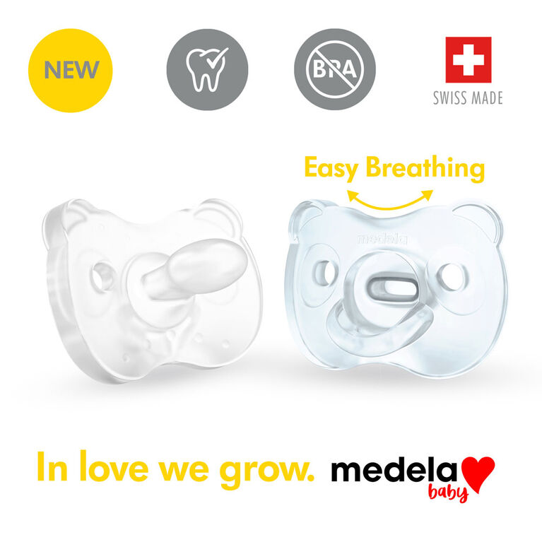 Medela Baby new SOFT SILICONE one-piece Pacifier designed to support baby's natural suckling, BPA free, Lightweight and orthodontic. 0-6 mo Boy
