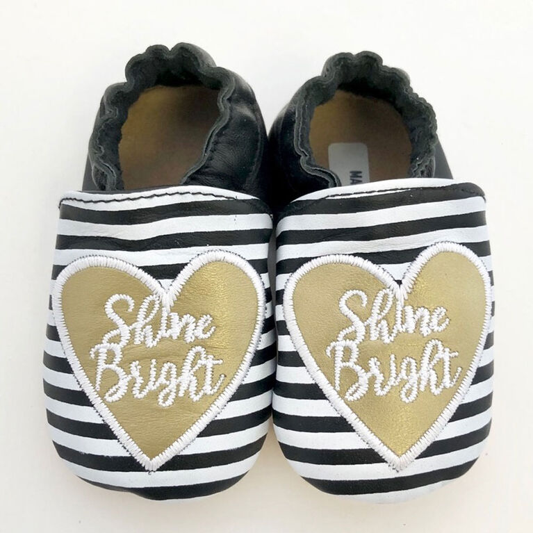 Tickle-toes Black with White Stripes & Heart 100% Soft Leather Shoes 6-12 Months