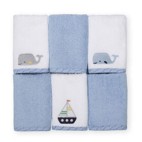 Koala Baby 6-Pack Washcloths, Blue Maritime