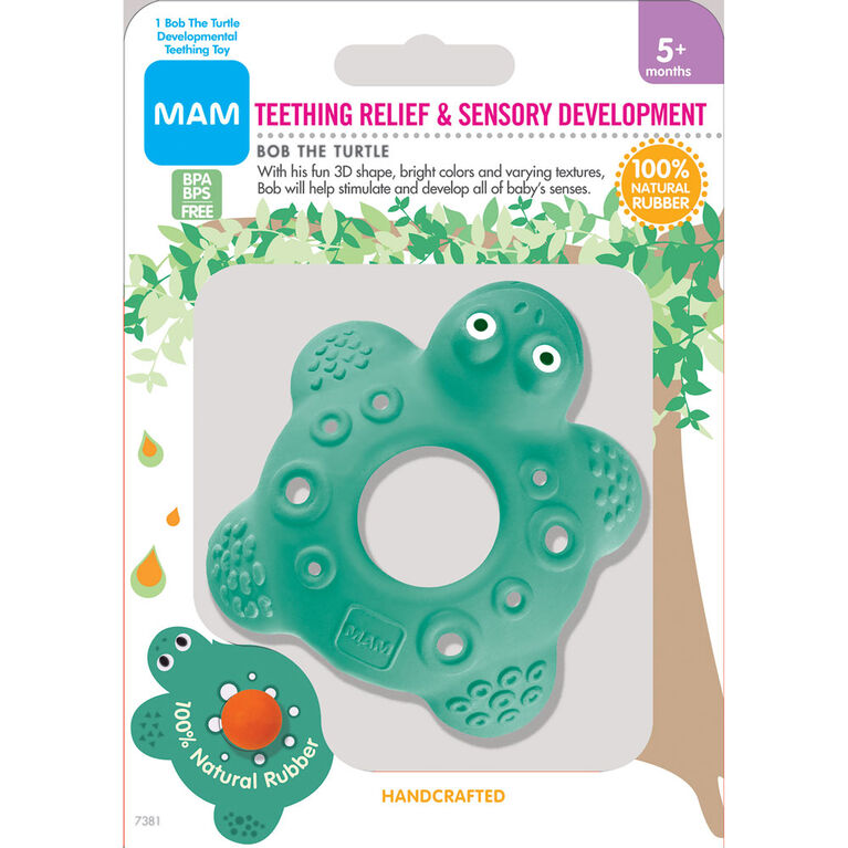 MAM Friends Bob the Turtle 100% Natural Rubber Developmental Teething Toy, 5+ Months