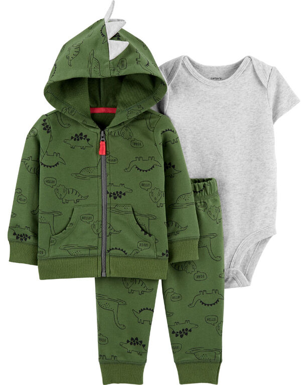 Carter's 3-Piece Dinosaur Cardigan Set - Green, 12 Months