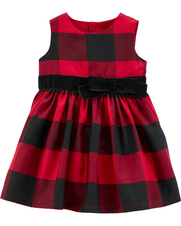 Carter's Buffalo Check Sateen Holiday Dress - Red, 6 Months