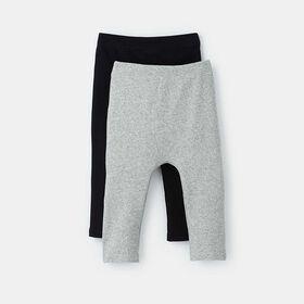 organic ribbed legging 2-pack, size 0-3m - Grey