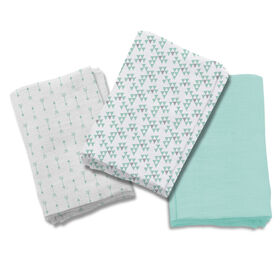 Summer Infant SwaddleMe Premium Muslin Swaddle Blankets - Follow the Heart Teal