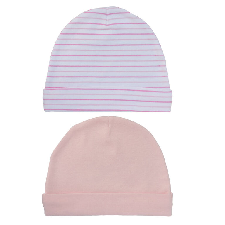 Koala Baby 2 Pack Baby Hats - Pink Star -Pink Stripes, size 3-6 months
